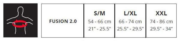 432114 – guide taille gilet de protection intégral leatt fusion 2.0 junior blanc-noir