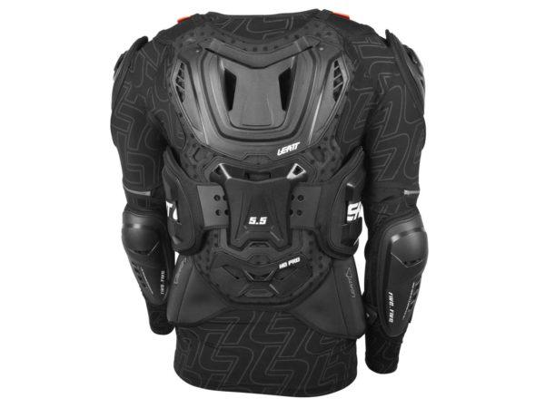 dos gilet de protection avec manches leatt body protector 5.5 noir