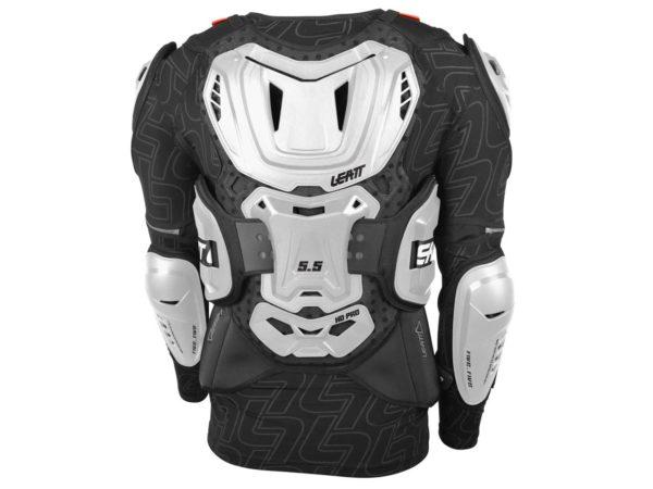 dos gilet de protection avec manches leatt body protector 5.5 blanc