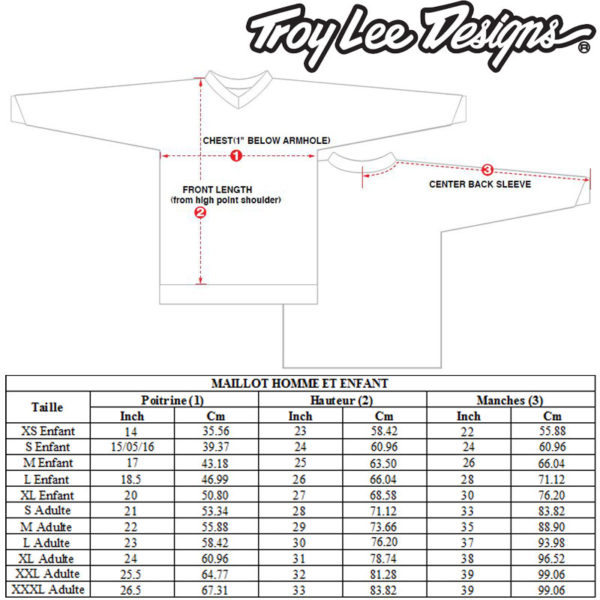 guide des tailles maillot_troy_lee_designs