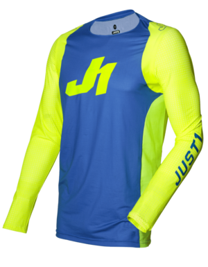 maillot motocross enduro just 1 j-flex jersey aria-blue-fluo-yellow