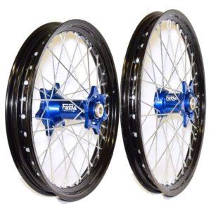 set de roues personnalisé cercle did dirt star noir et moyeux faba bleu