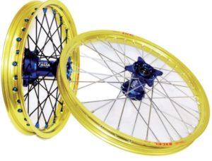 set de roues personnalisé cercle excel gold et moyeux faba bleu